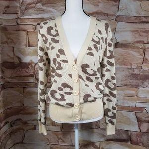 T/O Creme & Brown Leopard Print Cardigan